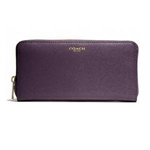 Coach Accordion Saffiano leather Zip Wallet